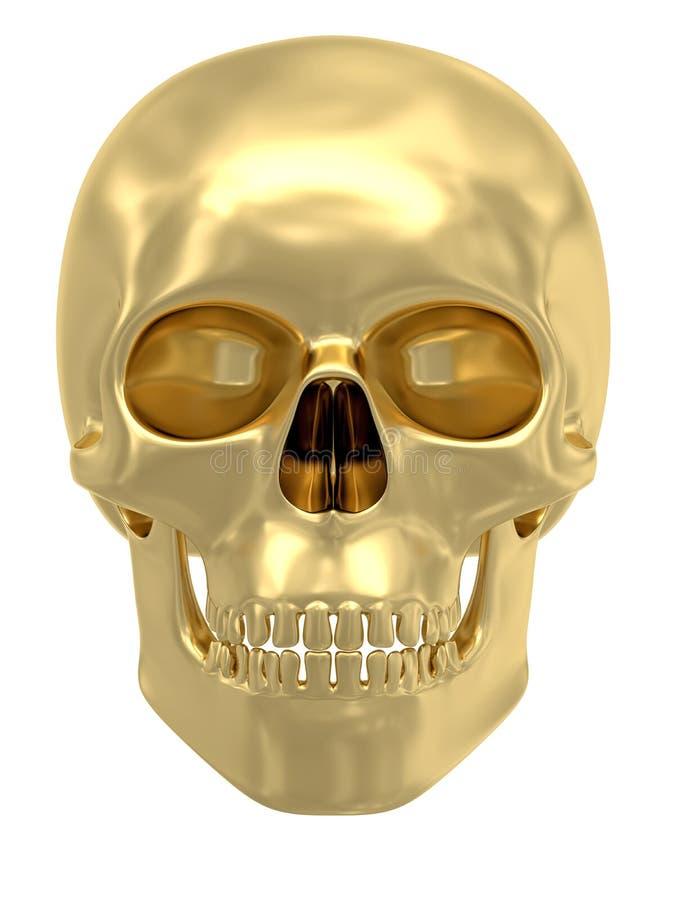 Crâne d'or d'isolement sur le blanc illustration stock