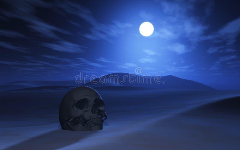 crâne 3D dans un désert la nuit illustration de vecteur