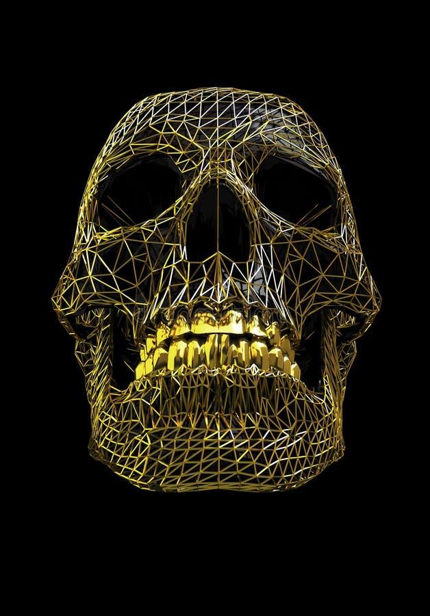 Crâne d'or de fil en métal au-dessus de la surface polygonale noire - avec le chemin de travail illustration stock