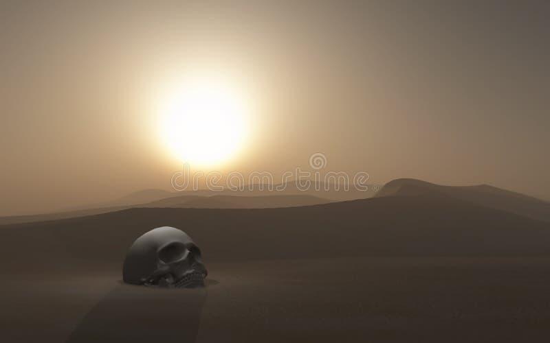 crâne 3D enterré dans un désert contre un ciel de coucher du soleil illustration libre de droits