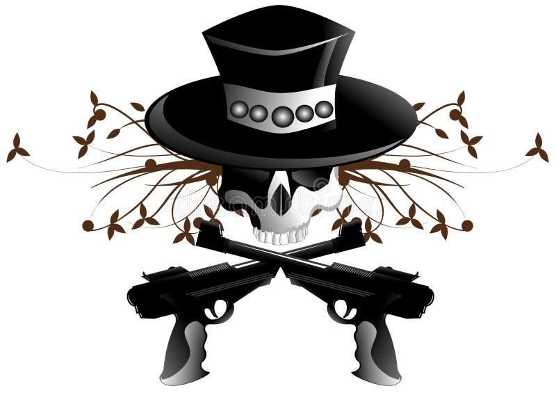 Crâne d'isolement avec le chapeau et les armes à feu illustration stock