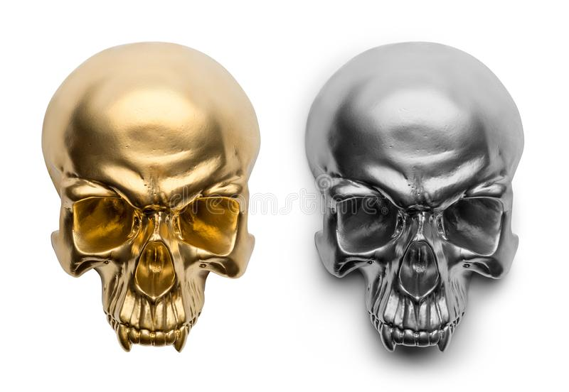 Crâne d'isolement d'or et d'argent sur le fond blanc image libre de droits