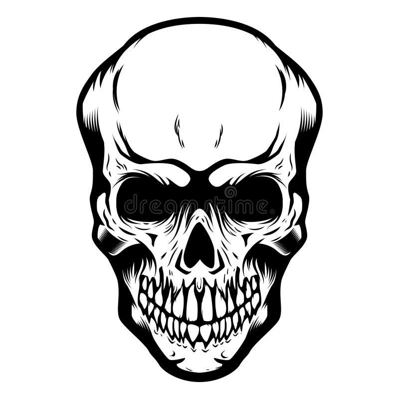 Crâne d'isolement sur le fond blanc Concevez l'élément pour l'affiche, carte, T-shirt, emblème illustration libre de droits