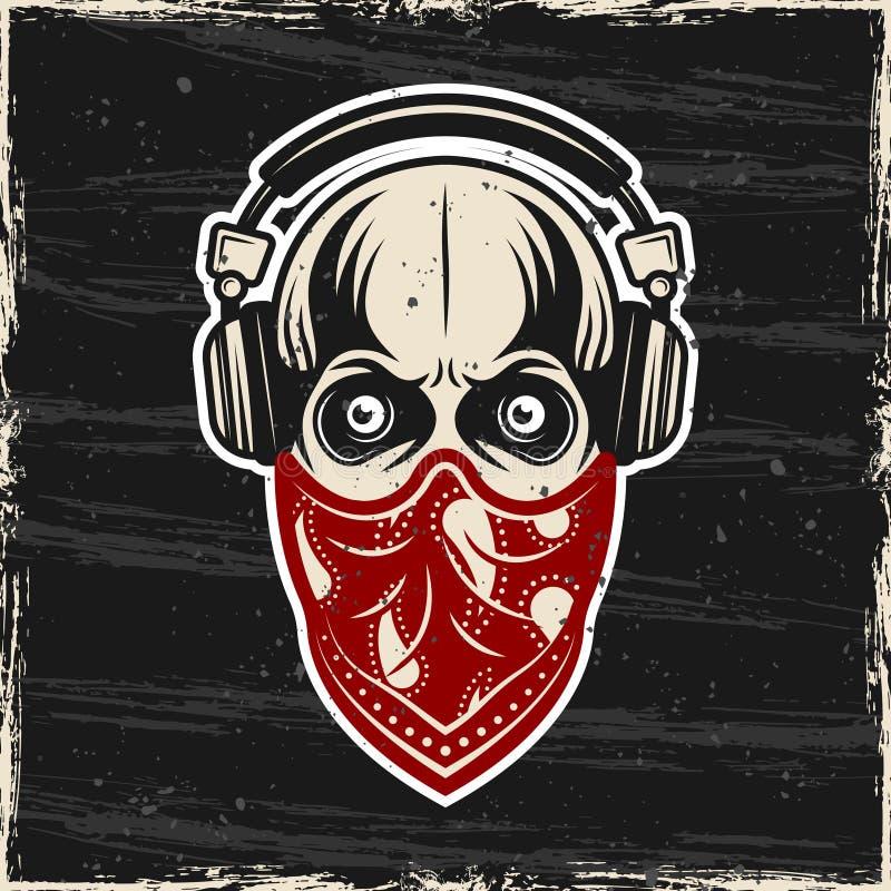 Crâne dans des écouteurs et bandana rouge sur le vecteur de visage illustration libre de droits