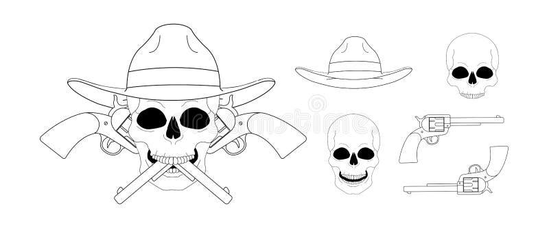 Crâne dans l'emblème croisé de pistolets du chapeau 2 linéaire illustration de vecteur