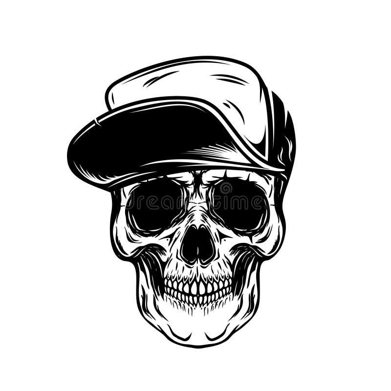 Crâne dans la casquette de baseball Concevez l'élément pour l'affiche, emblème, T-shirt illustration stock