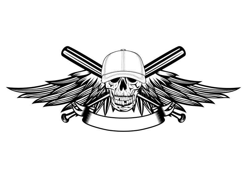 Crâne dans la casquette de baseball et des ailes illustration libre de droits