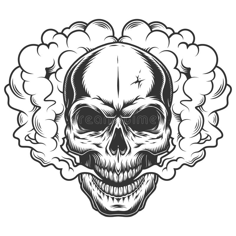 Crâne dans la fumée illustration libre de droits