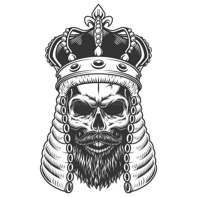 Crâne dans la perruque de juge illustration de vecteur