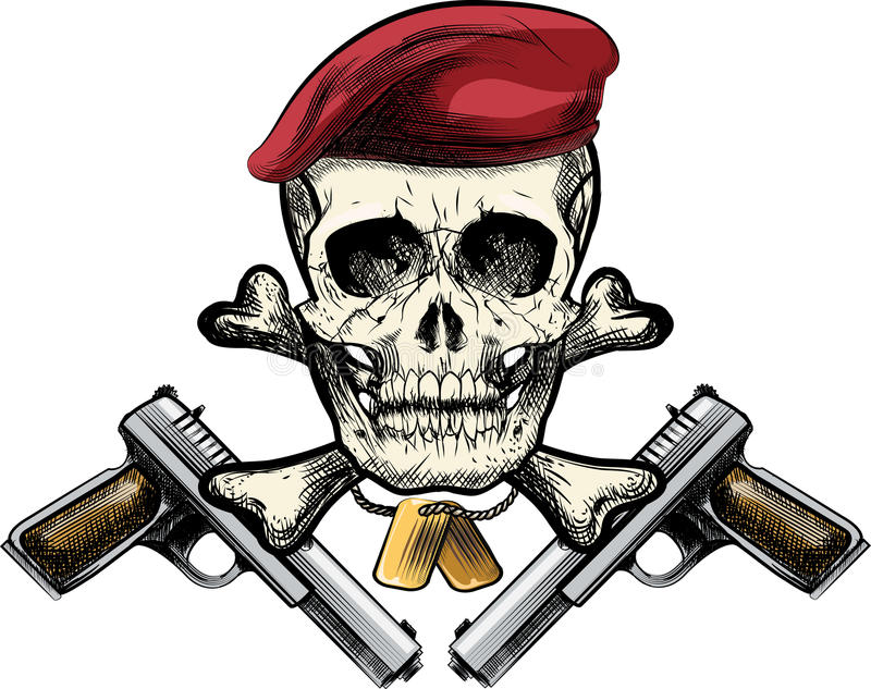 Crâne dans le béret illustration stock