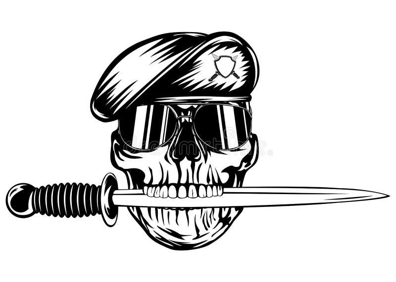 Crâne dans le béret avec le poignard illustration de vecteur
