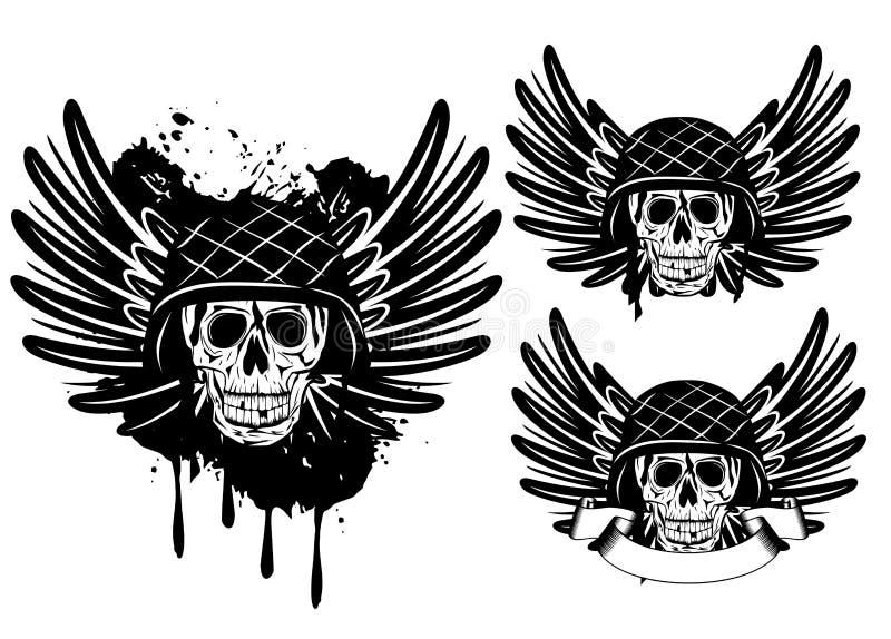Crâne dans le casque et des ailes illustration libre de droits