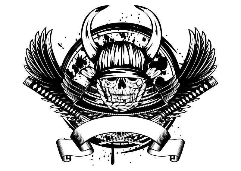 Crâne dans le casque samouraï avec des klaxons et des ailes illustration stock