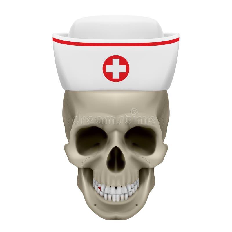 Crâne dans le chapeau d'infirmière illustration de vecteur