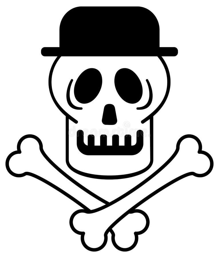 Crâne dans le chapeau Schéma illustration de vecteur