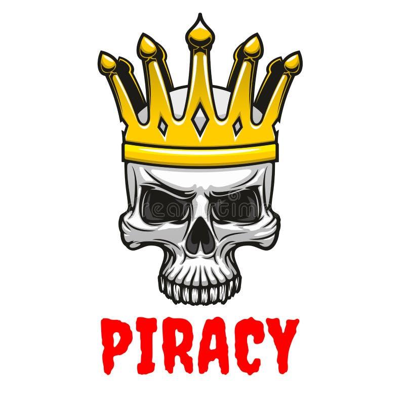 Crâne dans le symbole d'or de bande dessinée de couronne de roi illustration stock