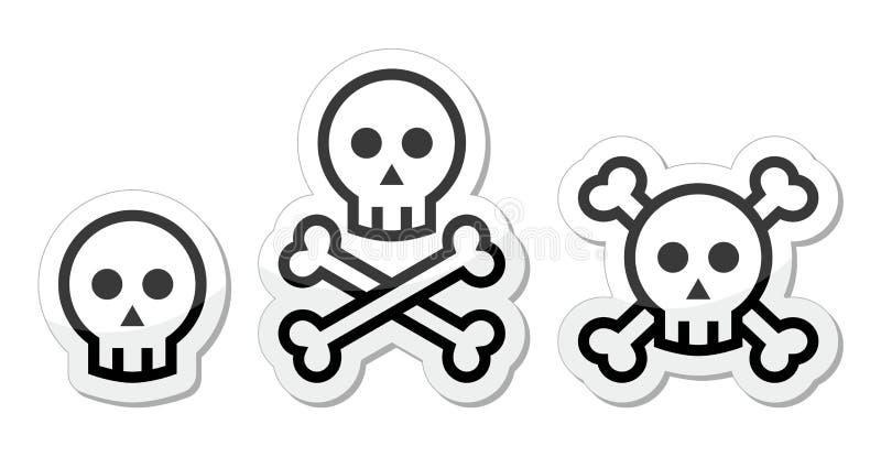 Crâne de bande dessinée avec l'ensemble d'icône d'os illustration libre de droits