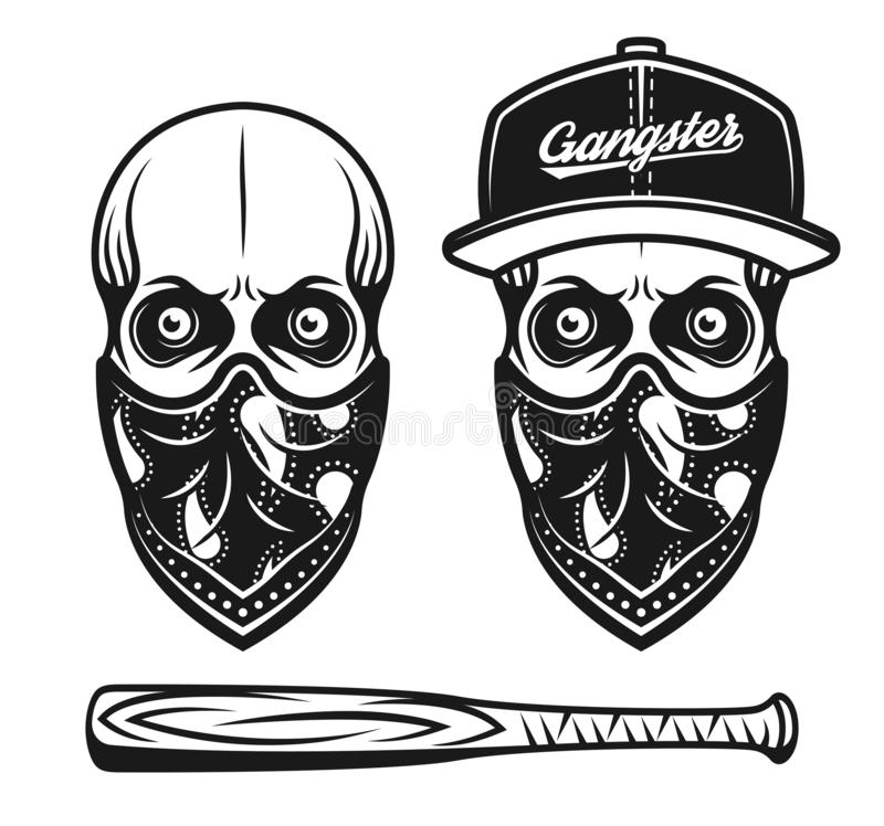 Crâne de bandit dans la casquette de baseball et bandana sur le visage illustration de vecteur