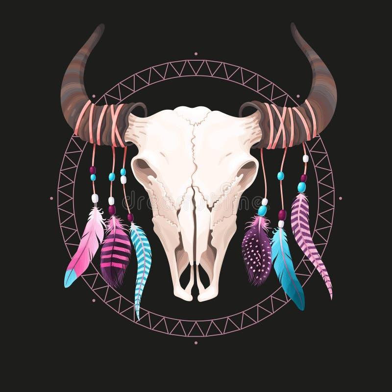 Crâne de Buffalo avec des plumes illustration libre de droits