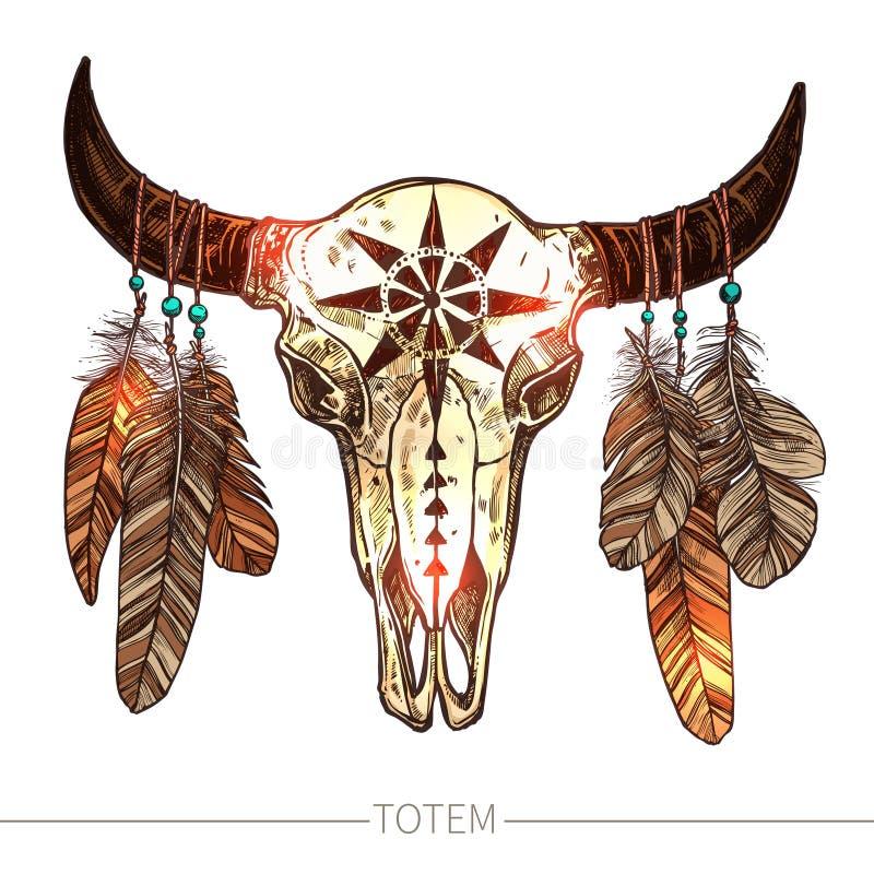 Crâne de Buffalo de croquis avec des plumes illustration libre de droits