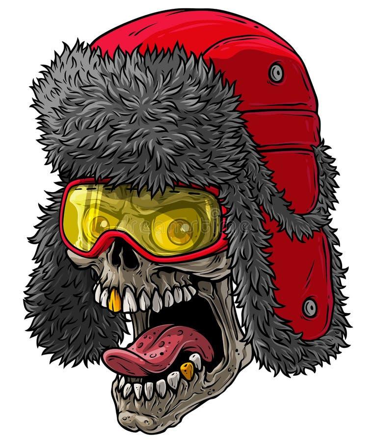 Crâne de caricature en chapeau de fourrure d'hiver avec volets d'oreilles illustration stock