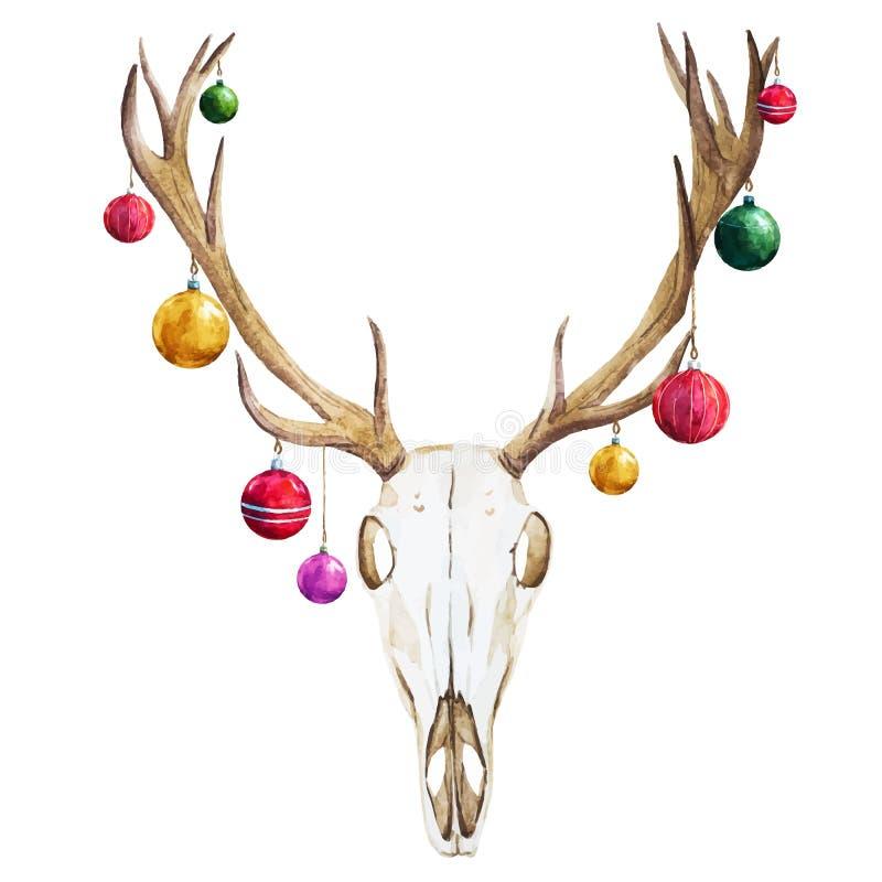 Crâne de cerfs communs de Noël illustration de vecteur