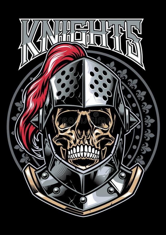 Crâne de chevalier Warrior illustration stock