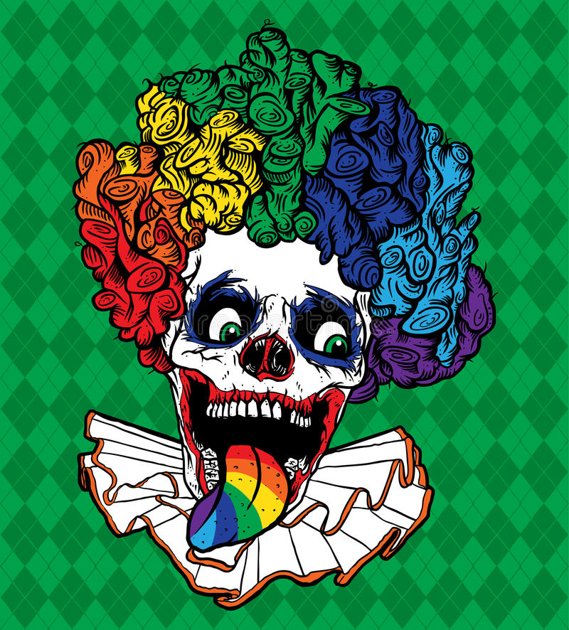 Crâne de clown d'arc-en-ciel de vecteur illustration de vecteur