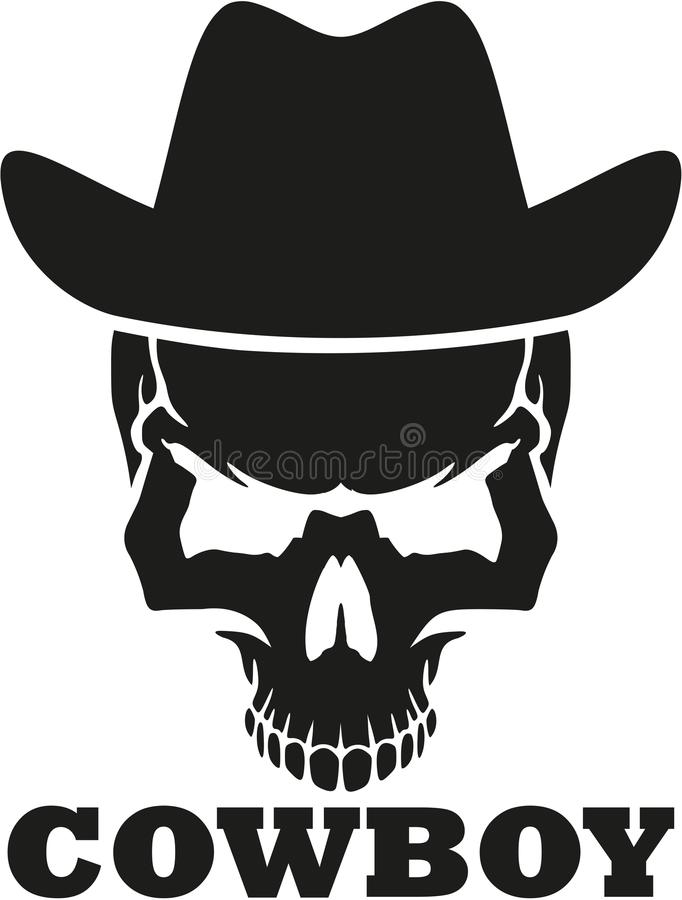 Crâne de cowboy avec le chapeau occidental illustration libre de droits