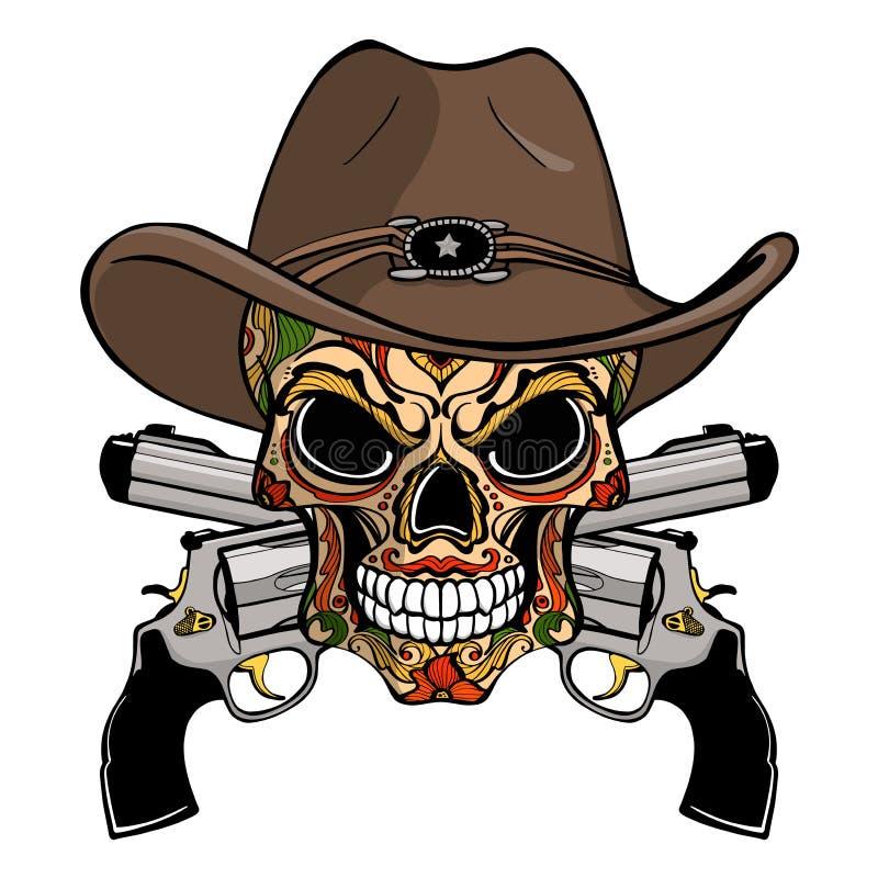 Crâne de cowboy dans un chapeau occidental et une paire d'armes à feu croisées illustration de vecteur