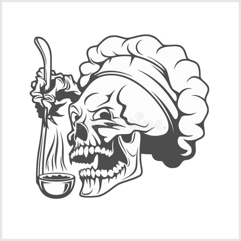 Crâne de cuisinier avec une poche illustration de vecteur