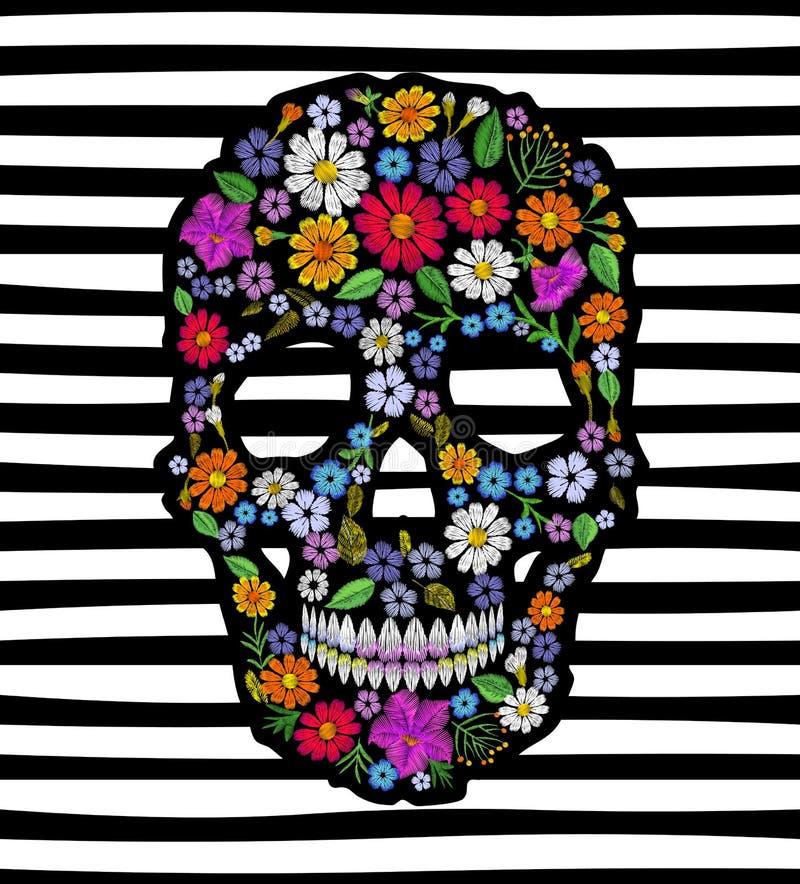 Crâne de fleur brodé par vintage Copie morte de décoration de conception de mode de jour de Muertos illustration de vecteur