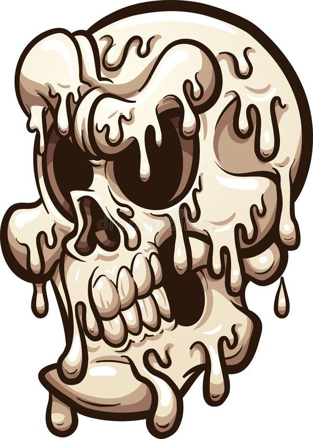 Crâne de fonte de bande dessinée illustration stock