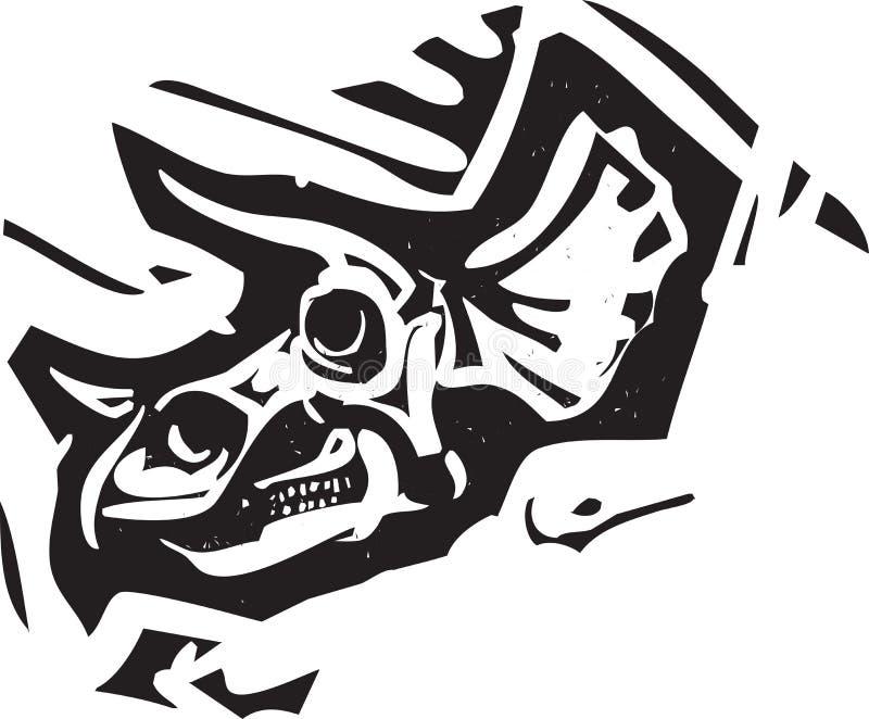 Crâne de fossile de Triceratops illustration de vecteur