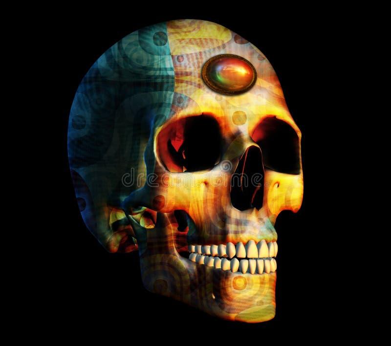 Crâne de fractale avec le bijou illustration de vecteur