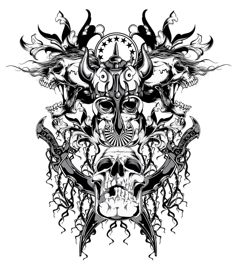 Crâne de guerrier illustration libre de droits