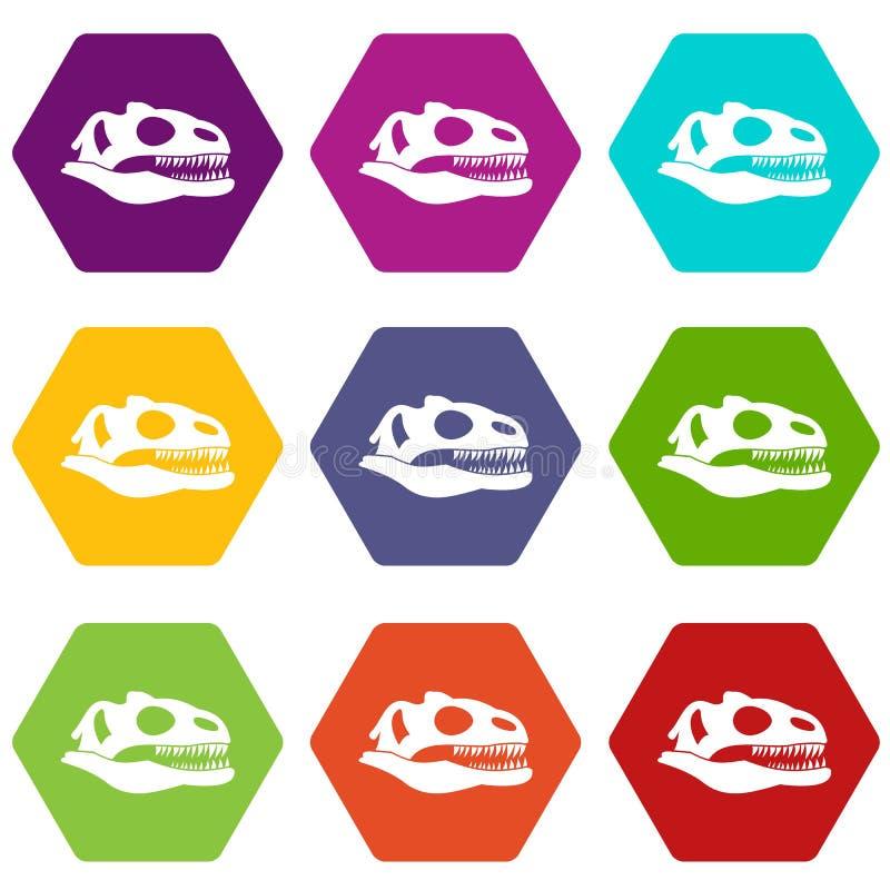 Crâne de hexahedron réglé de couleur d'icône de dinosaure illustration stock