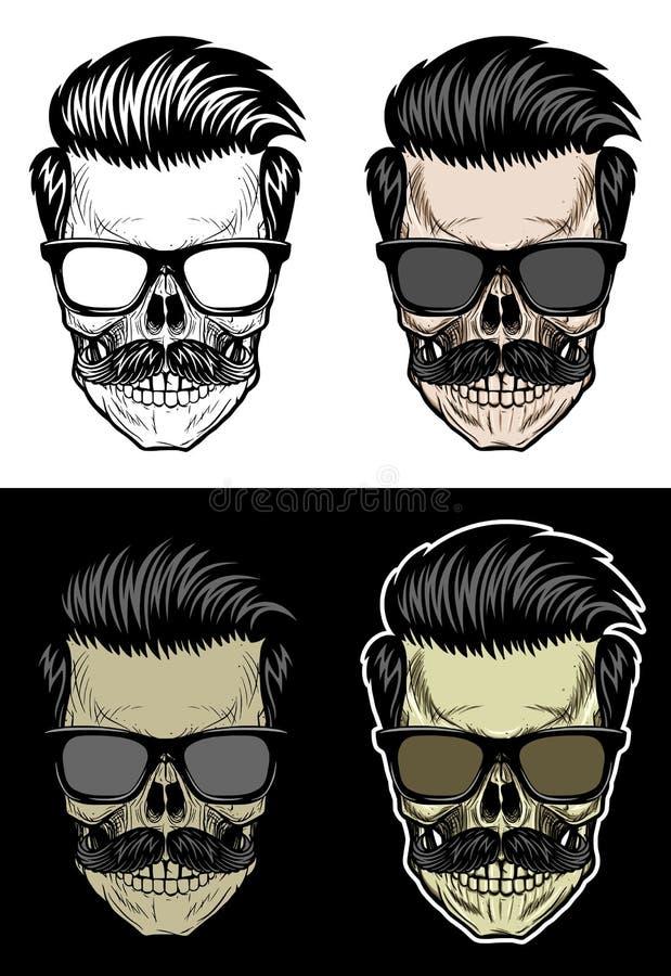 Crâne de hippie avec les lunettes de soleil de port de cheveux et de moustache illustration de vecteur