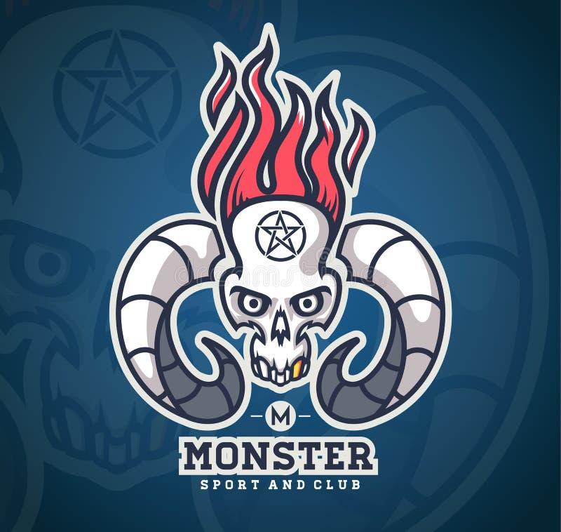 Crâne de logo avec des klaxons des animaux illustration stock