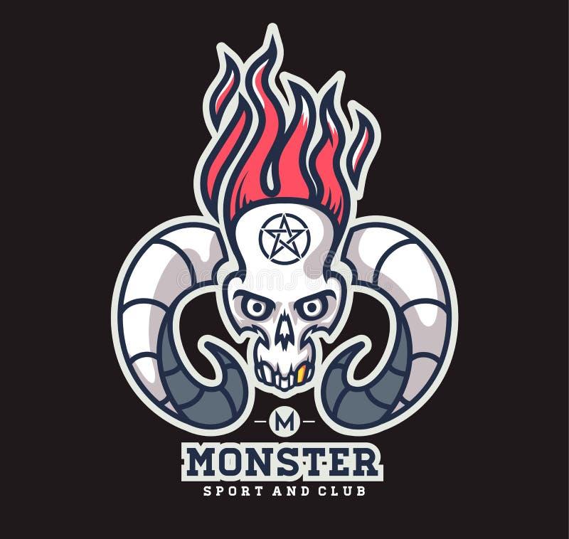 Crâne de logo avec des klaxons des animaux illustration de vecteur