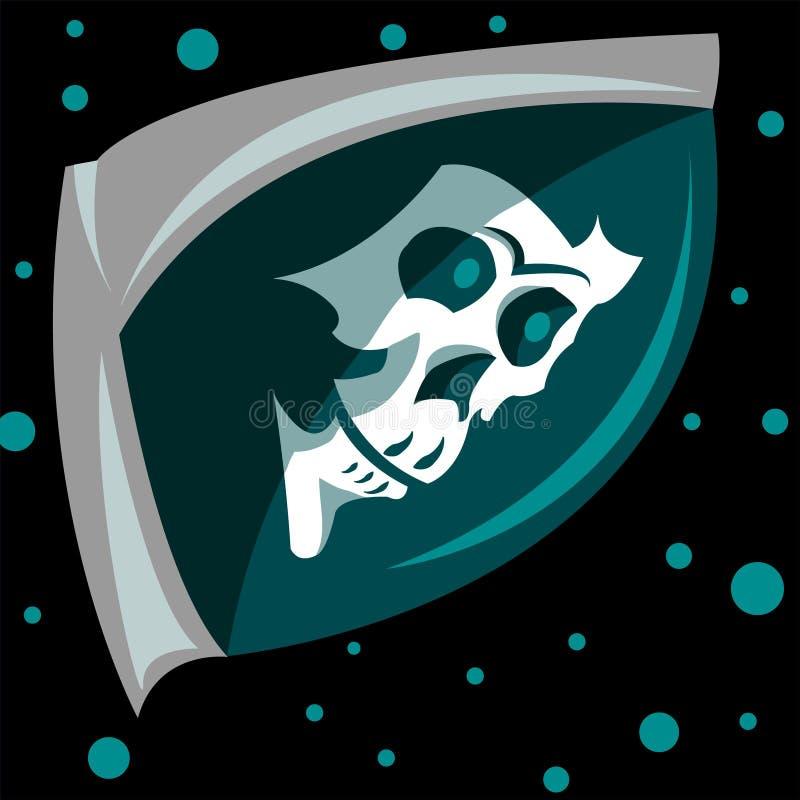 Crâne de logo dans l'espace image libre de droits