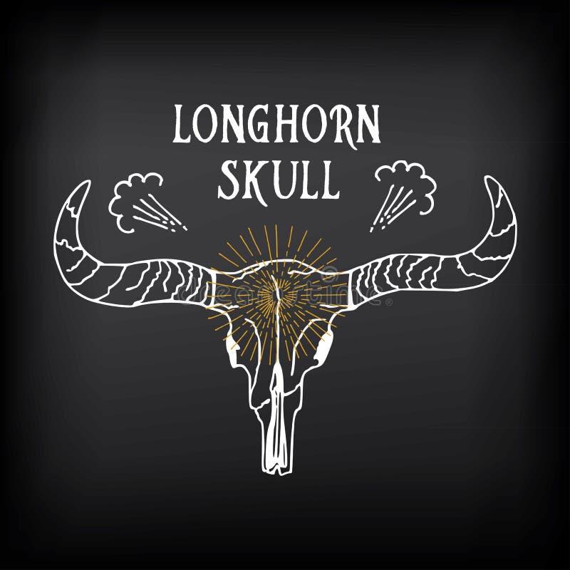 Crâne de Longhorn, conception de vecteur de croquis Icône occidentale de vintage illustration de vecteur