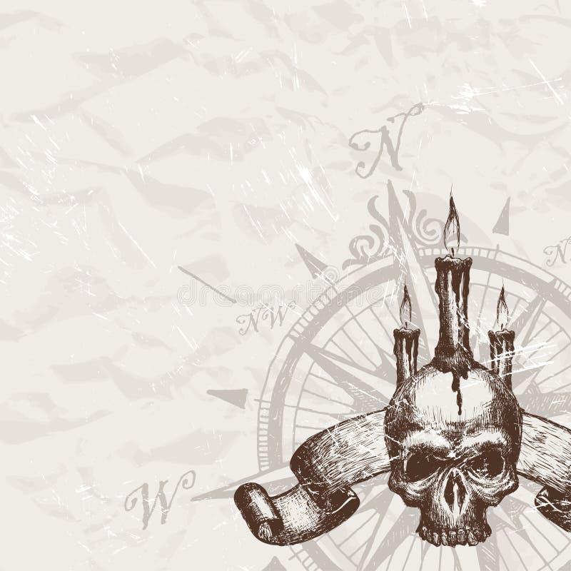 Crâne de piratage illustration de vecteur