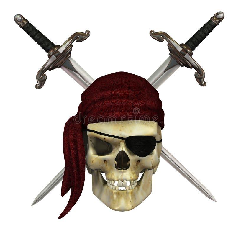 Crâne de pirate avec des poignards illustration libre de droits