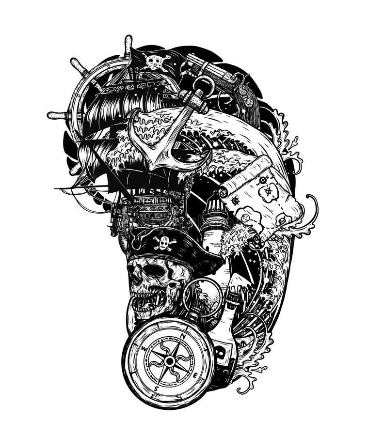 Cr Ne De Pirate Avec Le Tatouage De Vecteur De Bateau Dessinant La Main Illustration De Vecteur Illustration Du Tatouage Bateau 144831144