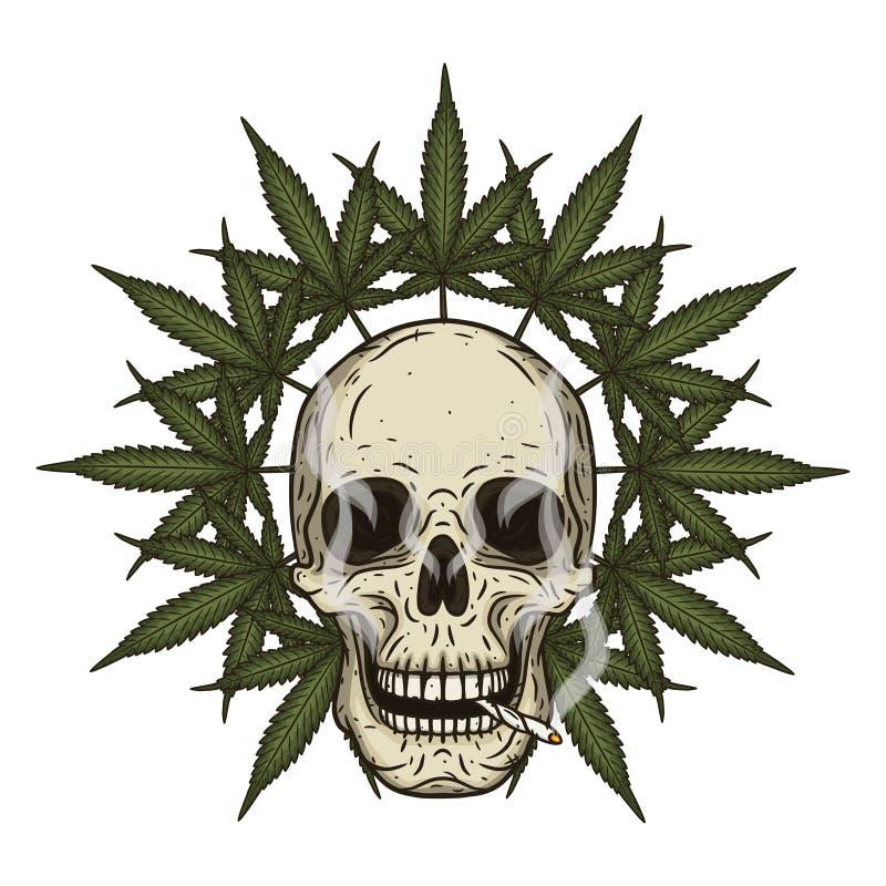 Crâne de Rastaman avec des feuilles de cannabis Illustration de vecteur illustration de vecteur