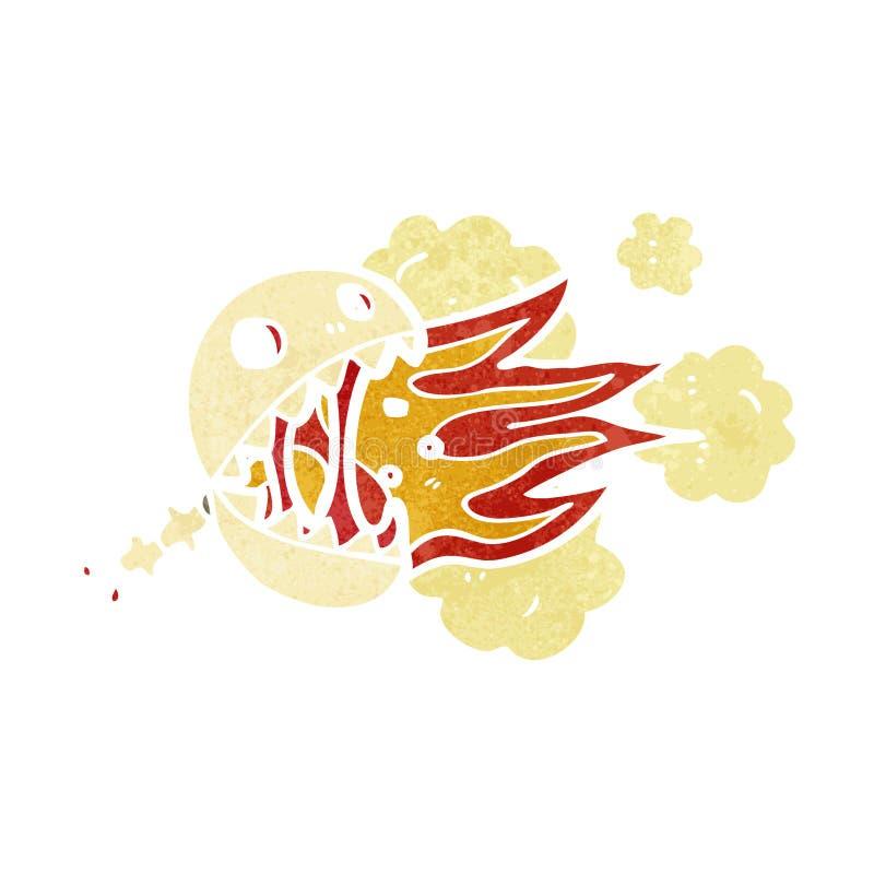 crâne de respiration du rétro feu de bande dessinée illustration de vecteur
