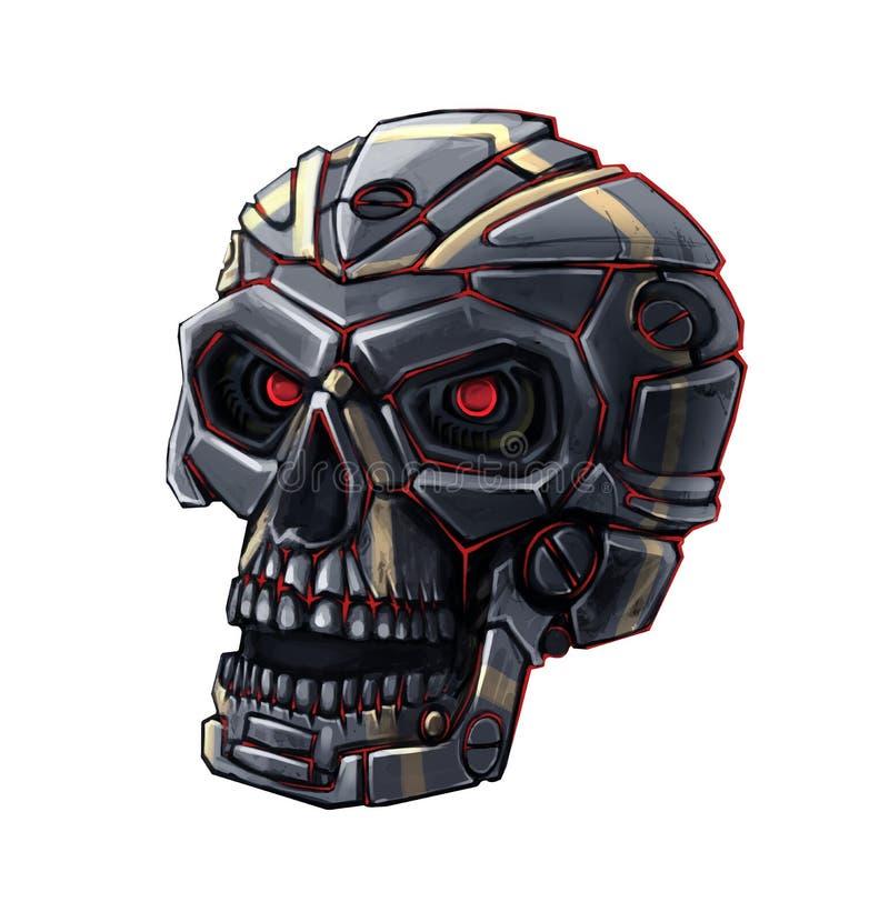 Crâne de robot de Metall illustration stock