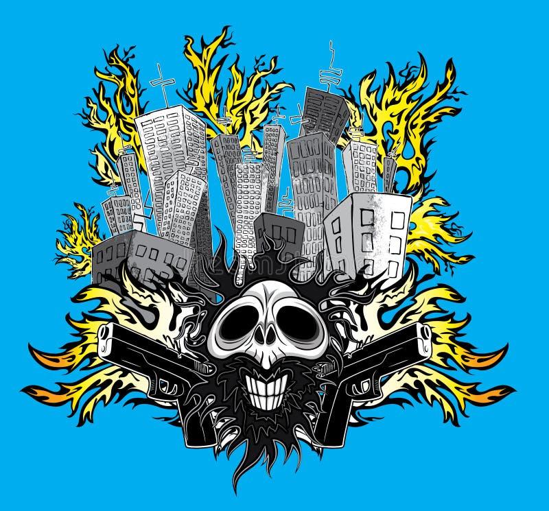 Crâne de sourire de bande dessinée avec des armes à feu et des bâtiments de ville en feu illustration de vecteur