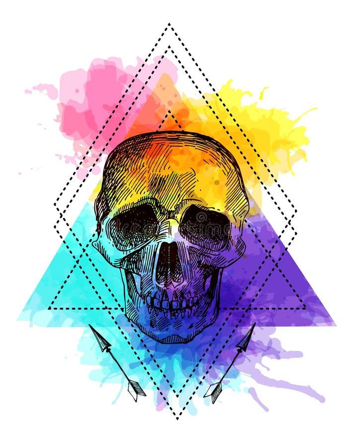 Crâne de style de tatouage illustration stock